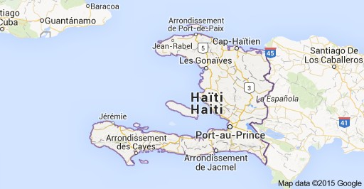 La carte d'Haiti (Google Maps).